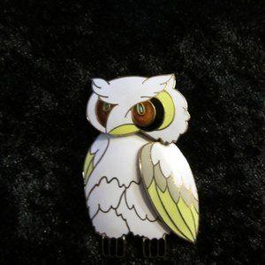 Vintage Cloisonne Owl Brooch
